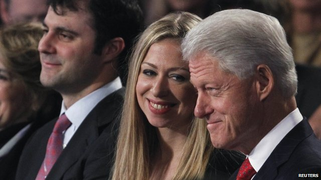 Chelsea and Bill Clinton