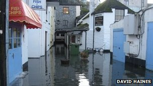 Flooding in Looe. Pic: David Haines