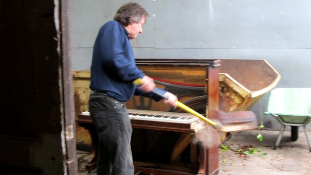 Piano being smashed