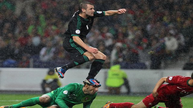 Niall McGinn scores against Portugal 
