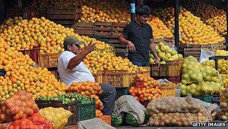 Fruit market in Paraguay