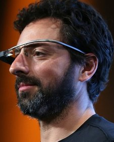 Sergey Brin wearing prototype AR glasses