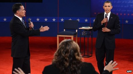Mitt Romney (left) and Barack Obama on stage at the second presidential debate, Hempstead, New York 16 October 2012