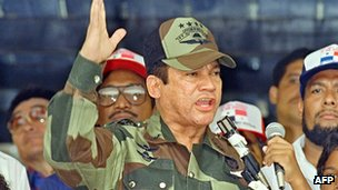 Manuel Noriega giving a speech in May 1988