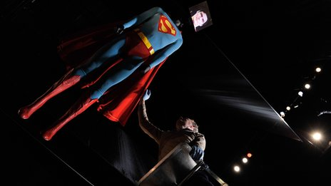 Superman costume worn by Christopher Reeve. Photo by Gareth Cattermole