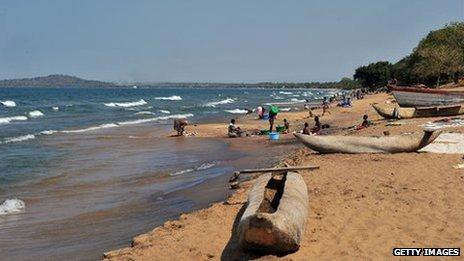 People on the beach at Lake Malawi (17 July 2011)