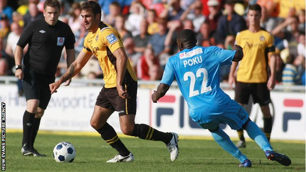 Newport&#039;s Andy Sandell in action against Newport