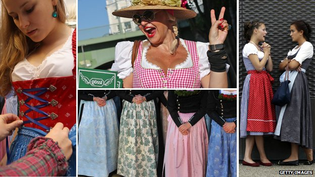 Women wearing dirndls