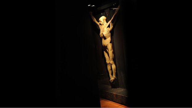 A wax cast of a crucified corpse on display at the Museum of London