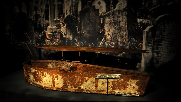 An iron coffin found in the crypt at St Bride's church in Fleet Street, London, on display at the Museum of London