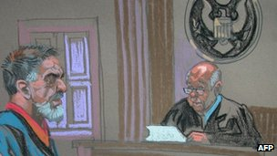 Courtroom sketch shows Manssor Arbabsiar as he pleads guilty at New York Federal Court on 17 October 2012