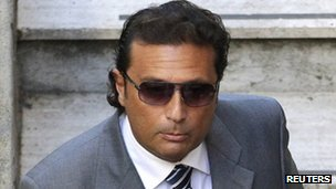 Francesco Schettino at the Moderno Theatre in Grosseto for the pre-trial hearing into sinking of the Costa Concordia, 16 October 2012