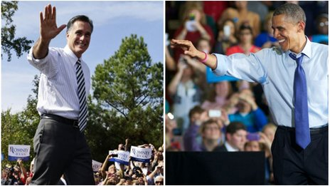 Composite of presidential candidates on the campaign trail 17 October 2012 (Pics: AP/Getty)