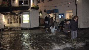 Flooding in Looe on Wednesday night
