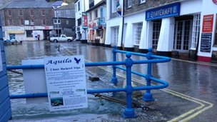 Flooding in Mevagissey on Thursday morning
