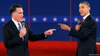 US Republican presidential nominee Mitt Romney (left) and US President Barack Obama gesture towards each other during the second US presidential debate in Hempstead, New York