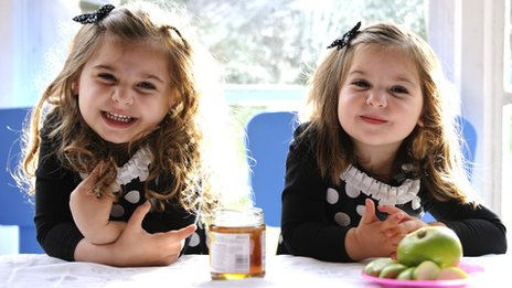 Two Jewish girls dip apples in honey