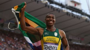 Caster Semenya of South Africa celebrates winning silver in the Women's 800m Final at the London 2012 Olympic Games