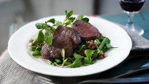Venison fillet and salad