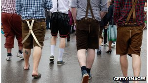 Men wearing lederhosen