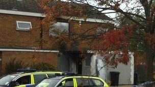 scene of the fatal fire in Barn Mead Harlow