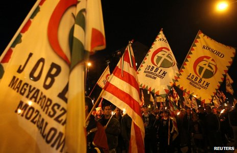 Jobbik supporters rally in Miskolc, 17 October