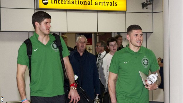 Celtic's Fraser Forster and Gary Hooper