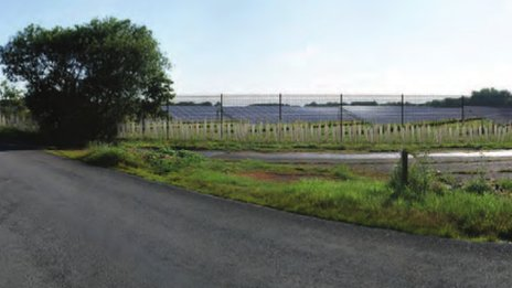 Artist's impression of solar panel farm, Great Glemham