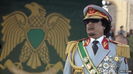 "Libya""s leader Muammar Gaddafi attends a celebration of the 40th anniversary of his coming to power at the Green Square in Tripoli in this September 1, 2009 file photo"