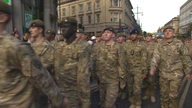 Soldiers parade through Huddersfield