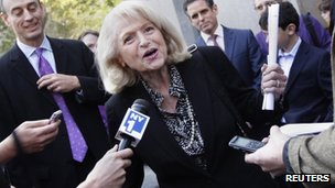 Edith Windsor speaks to reporters in New York 27 September 2012