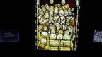 Panel from the Great East Window at York Minster on display in the Orb