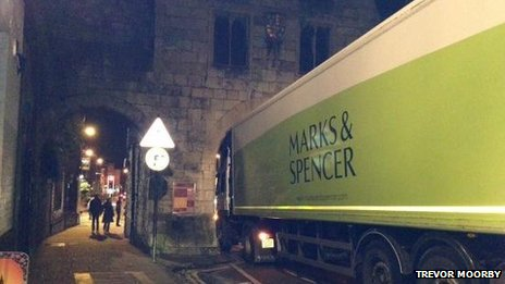 Lorry stuck under Micklegate Bar, York. Picture: Trevor Moorby