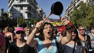 Greek protesters in Thessaloniki on Thursday, 18 October.