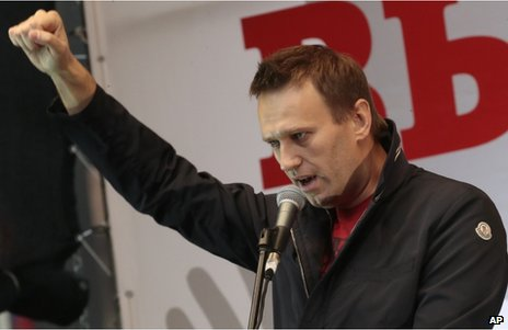 Russian opposition leader Alexei Navalny, at a protest in Moscow, 15 September