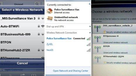 Surveillance wifi: MI5 Surveillance Van, Police Surveillance Van, DSS_surveillance_vehicle