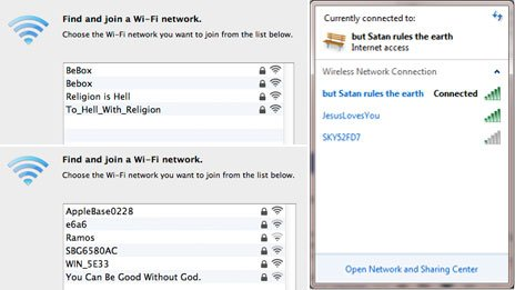 Religious wifi tags: To_Hell_With_Religion, You Can Be Good Without God, Satan rules the earth