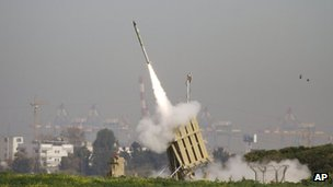Rocket fired from the Iron Dome missile defence system (file photo)
