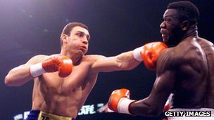 Vitali Klitschko fights Herbie Hide in the WBO world heavyweight championship in London in 1999