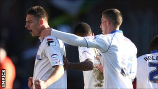 Jake Cassidy celebrates scoring for Tranmere against Yeovil