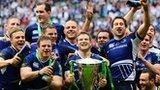Leinster celebrating their Heineken Cup final win against Ulster in 2012