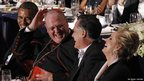 Barack Obama, Cardinal Timothy Dolan, Mitt Romney and his wife Ann