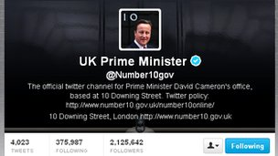 Screengrab of David Cameron's Twitter feed