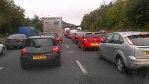 Traffic queued on M4 after crash