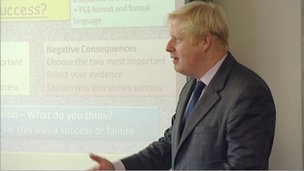 Boris Johnson at a school