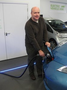Ian Reeves using DC fast charge point at Scottish Hydro's Centre for Renewable Excellence