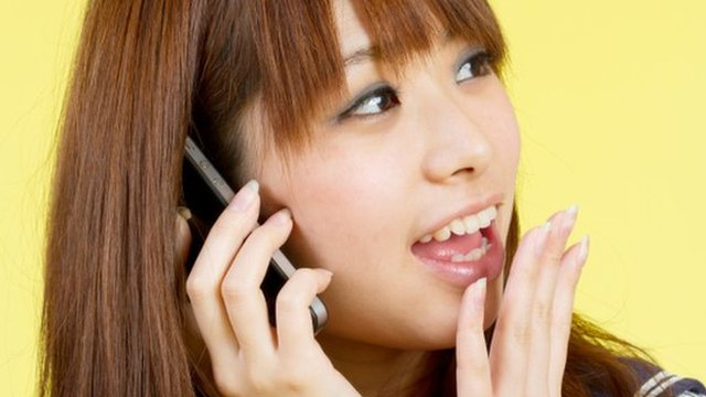 Japanese woman on phone