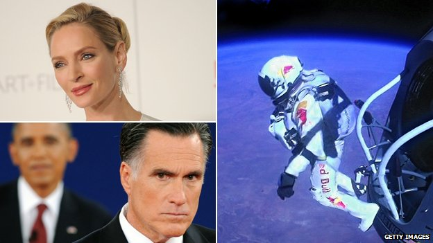 Uma Thurman, Felix Baumgartner, Mitt Romney and Barack Obama