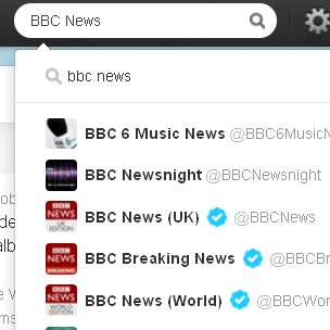 Screengrab of search for BBC News