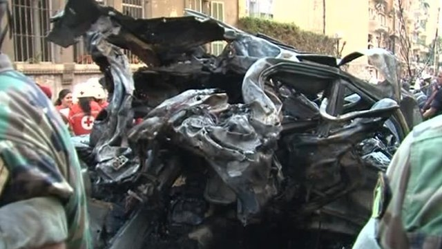 Remnants of a car after explosion in Beirut